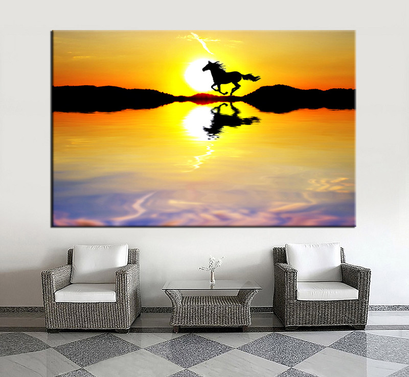1 Piece Horse Yellow Sunrise Huge Canvas