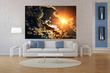 1 piece wall art, multi panel art, scenery yellow large canvas, scenery huge pictures, living room photo canvas