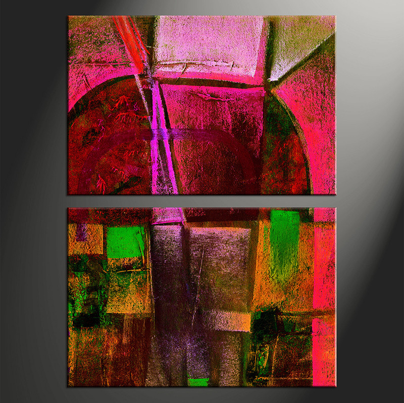 2 Piece Canvas Red Oil Paintings Abstract Wall Decor