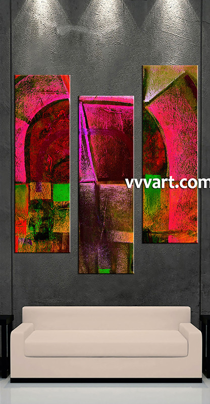 3 piece oil paintings red abstract multi panel canvas for Buy abstract art online