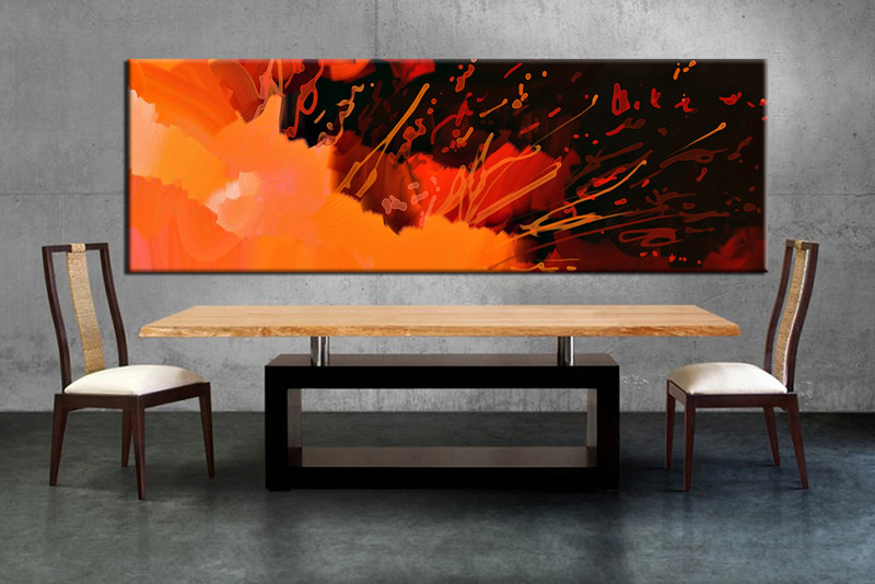 Piece Panoramic Orange Abstract Large Canvas