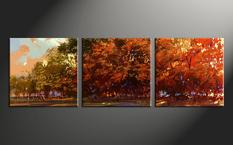 3 piece oil paintings orange scenery large canvas for Buy large canvas prints