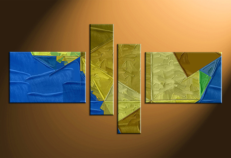 4 Piece Yellow Blue Oil Paintings Abstract Group Canvas