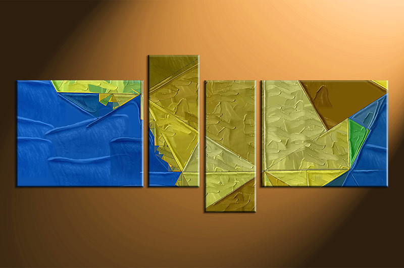 4 Piece Oil Paintings Yellow Blue Abstract Large Canvas