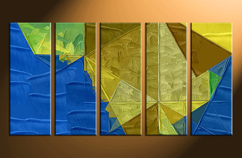 5 Piece Oil Paintings Blue Yellow Abbstract Canvas Wall Art