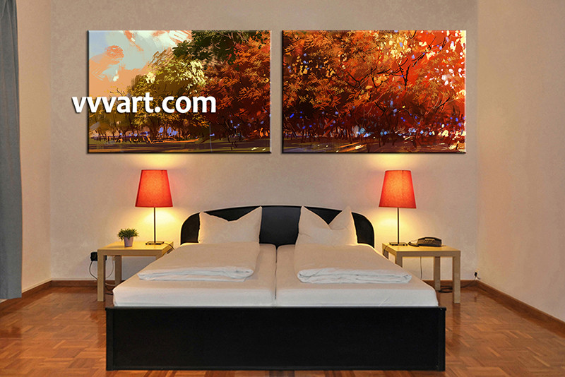 Lovely 2 Piece Canvas Wall Art, Bedroom Art , Orange Scenery Large Canvas, Oil  Paintings
