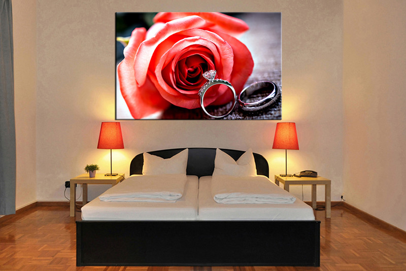 1 Piece Large Canvas Floral Red Rose Art