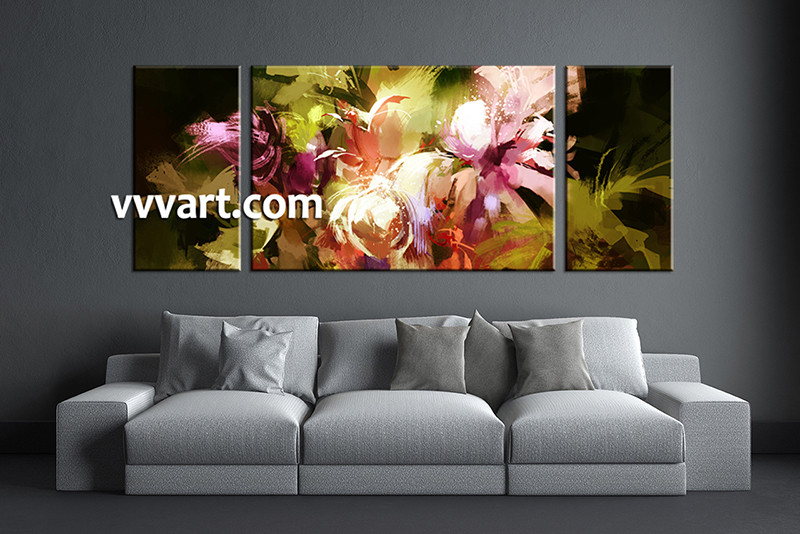 3 Piece Canvas Wall Art, Floral Artwork, Floral Wall Art, Floral Pictures,