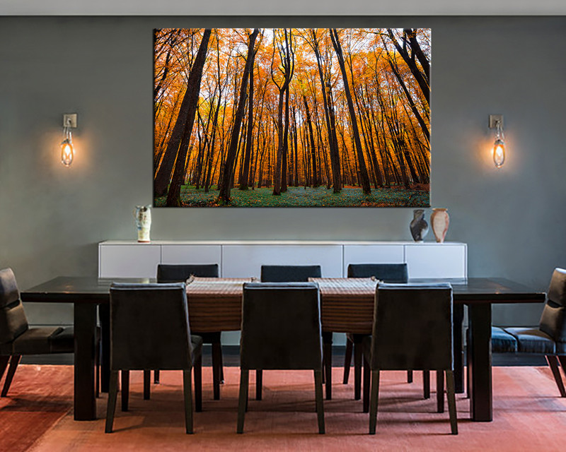 Piece Orange Scenery Autumn Trees Wall Decor