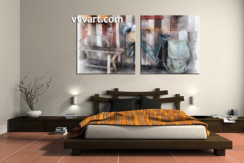2 Piece Canvas Art, Bedroom Art, Modern Multi Panel Art, Modern Huge  Pictures
