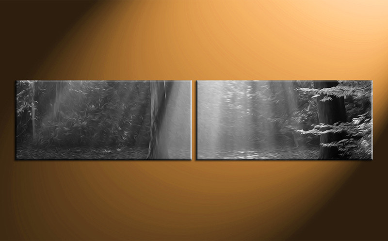 2 piece canvas black and white scenery oil paintings for Black white canvas paintings