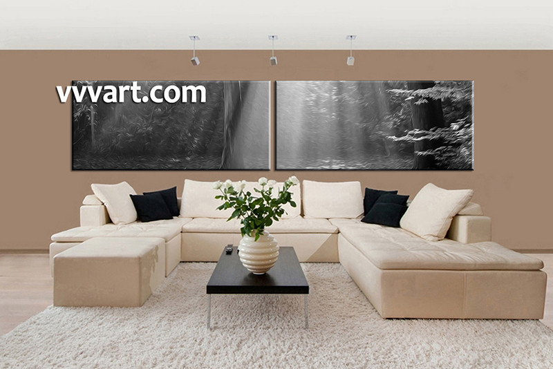 2 Piece Huge Pictures, Living Room Multi Panel Canvas, Black And White  Canvas Photography