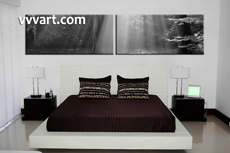 2 Piece Canvas Black and White Scenery Oil Paintings