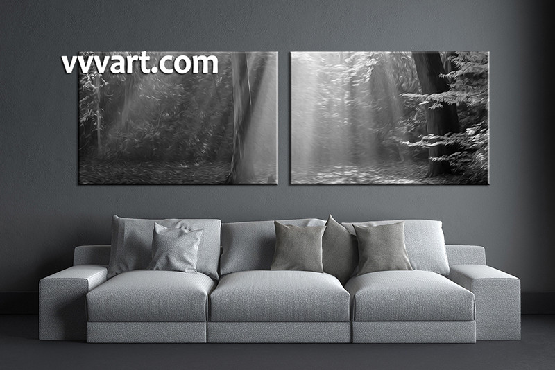 2 piece wall art black and white multi panel art oil paintings artwork