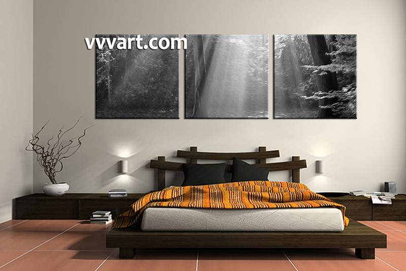 Multi Piece Canvas Wall Art 3 piece black and white scenery oil paintings
