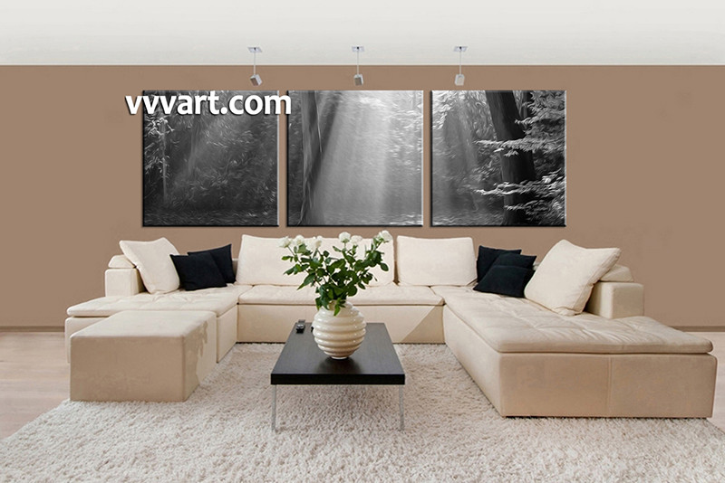 3 Piece Black and White Scenery Oil Paintings