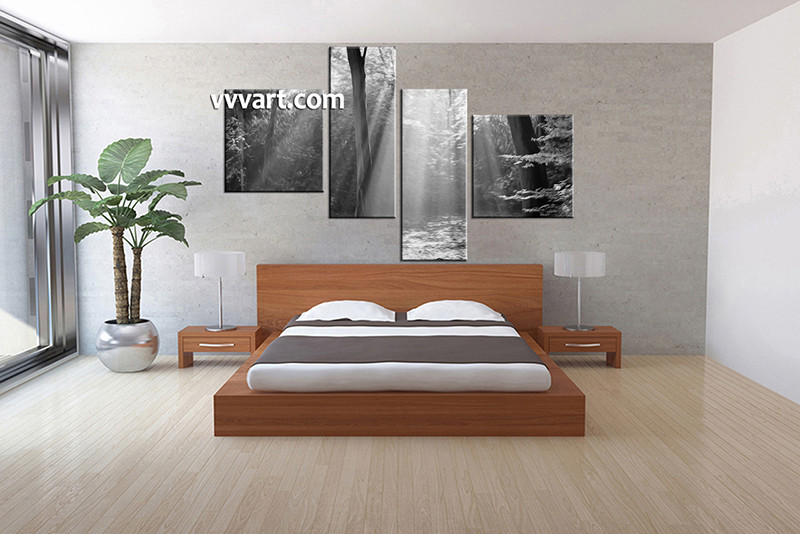 4 Piece Canvas Wall Art, Oil Paintings Bedroom Canvas Photography, Nature  Pictures, Black