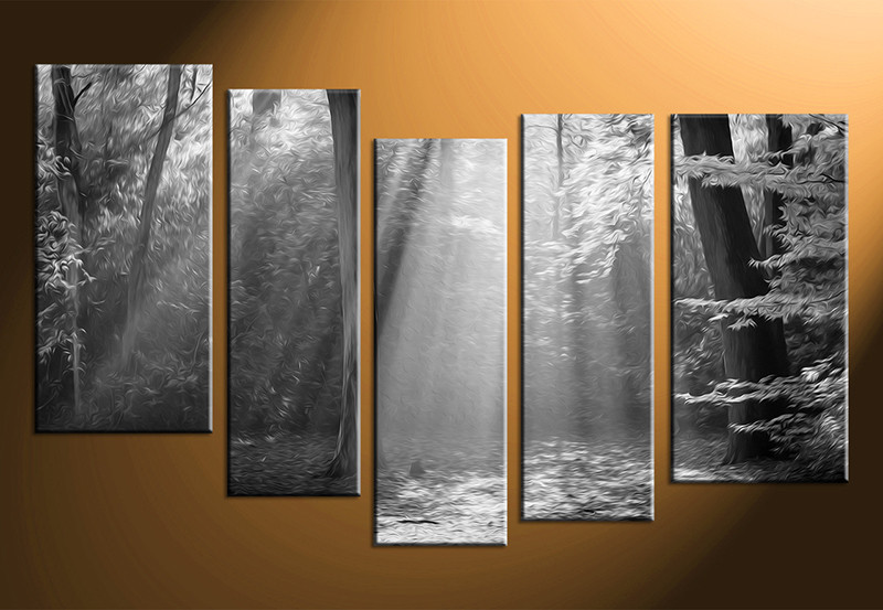 5 piece black and white large canvas scenery oil paintings