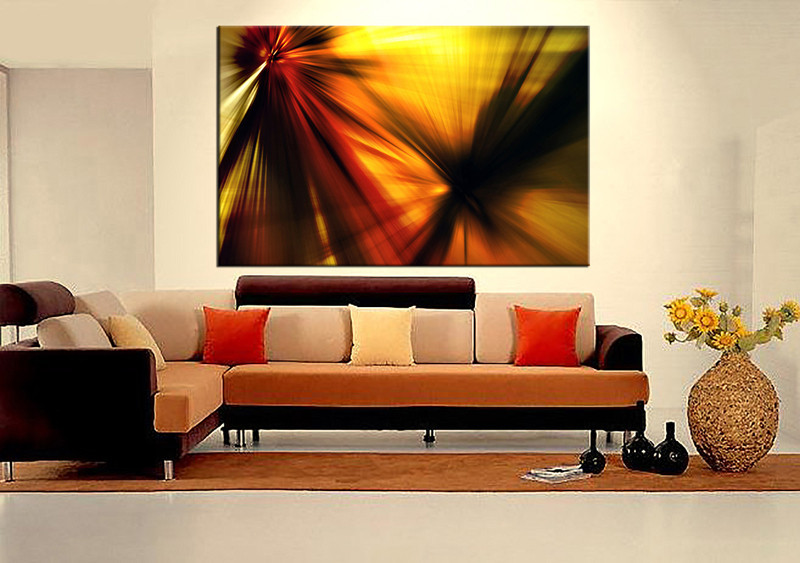 1 Piece Large Pictures, Living Room Canvas Photography, Yellow Abstract  Wall Art Part 67