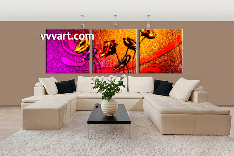 3 Piece Large Pictures, Living Room Multi Panel Art, Floral Photo Canvas,  Oil Part 98