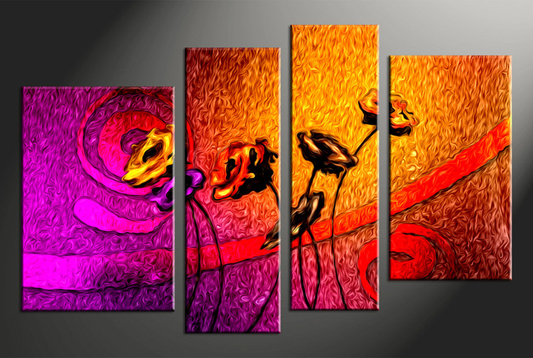 4 piece colorful floral oil paintings canvas wall art. Black Bedroom Furniture Sets. Home Design Ideas