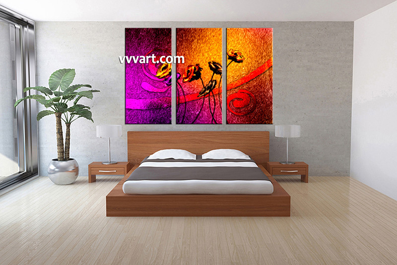 Floral Canvas Wall Art triptych large canvas colorful floral oil paintings