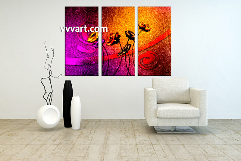 Triptych Wall Art triptych large canvas colorful floral oil paintings