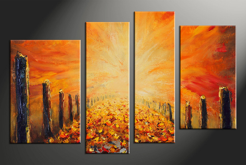 4 Piece Modern Orange Oil Paintings Canvas Photography