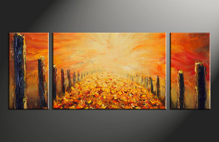 Triptych modern orange oil paintings canvas wall decor - Wall decor photography ...
