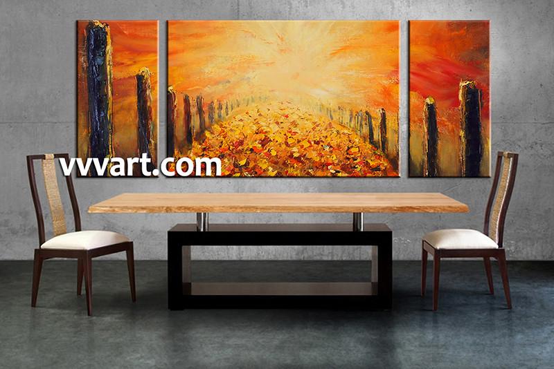 dining room wall decor 3 Piece Wall Art modern multi panel art orange & Triptych Modern Orange Oil Paintings Canvas Wall Decor
