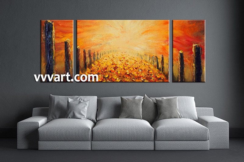 Triptych Wall Art triptych modern orange oil paintings canvas wall decor