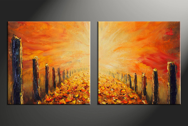 2 Piece Wall Art, Home Decor Modern Artwork, Modern Oil Paintings Pictures,  Orange