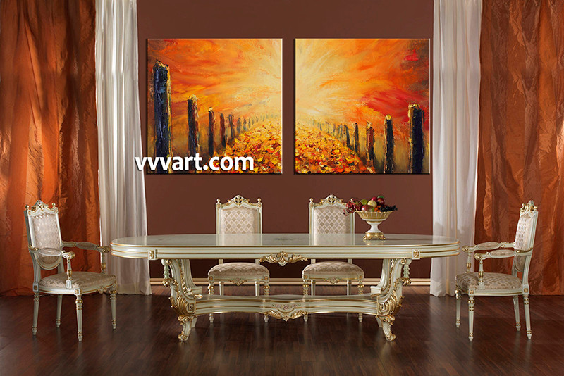 2 Piece Large Pictures, Dining Room Wall Decor, Orange Modern Group Canvas,  Modern