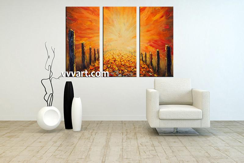 Triptych Canvas Modern Orange Oil Paintings Artwork