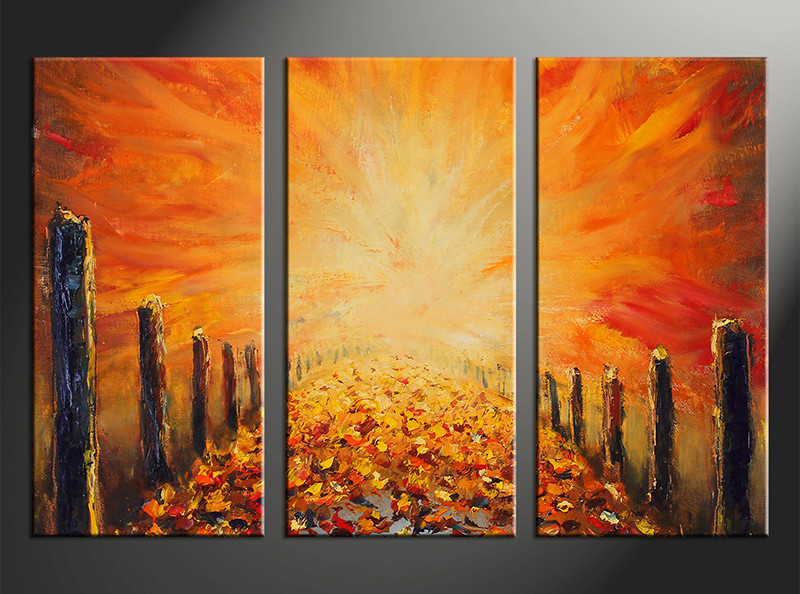 Triptych Canvas Modern Orange Oil Paintings Artwork