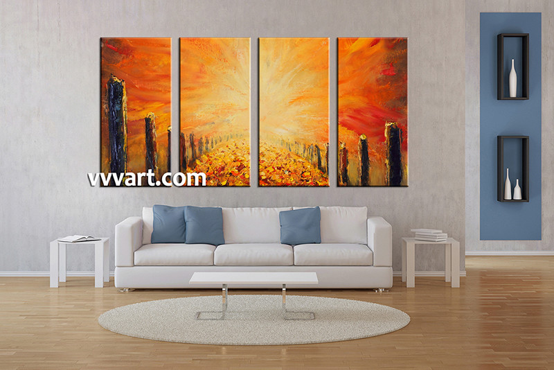 modern artwork for living room. 4 piece large pictures  living room multi panel art modern photo canvas orange Piece Modern Orange Oil Paintings Group Canvas