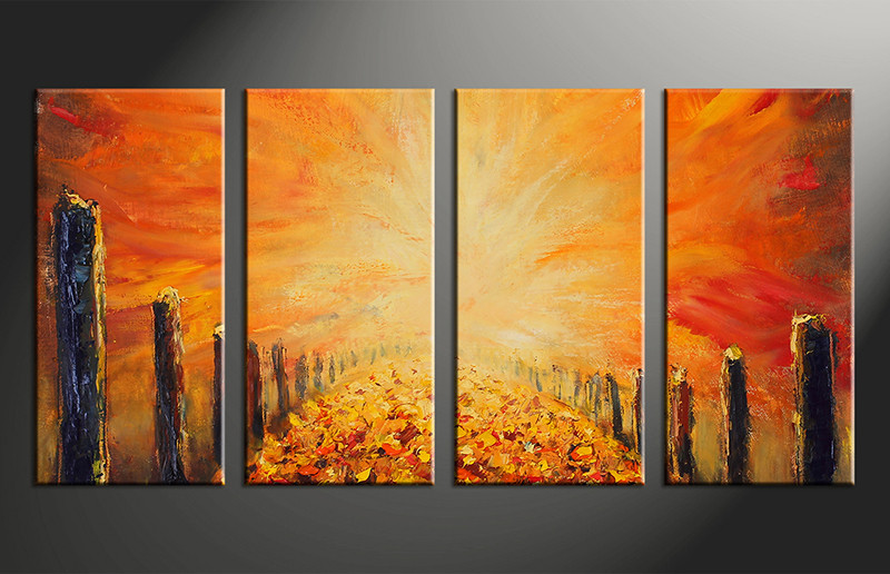 4 Piece Modern Orange Oil Paintings Group Canvas