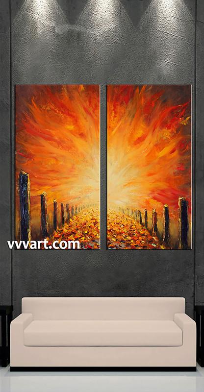 2 Piece Canvas Wall Art 2 piece orange modern oil paintings huge canvas art