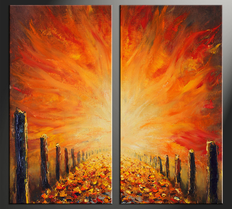 Orange Wall Art 2 piece canvas wall art