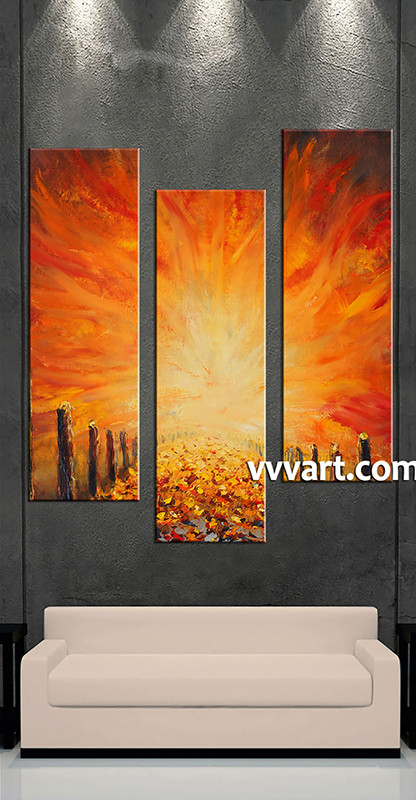 3 Piece Canvas Photography, Living Room Pictures , Orange Modern Huge  Pictures, Modern Wall