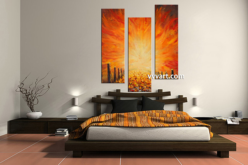 3 Piece Canvas Wall Art Bedroom Orange Modern Pictures