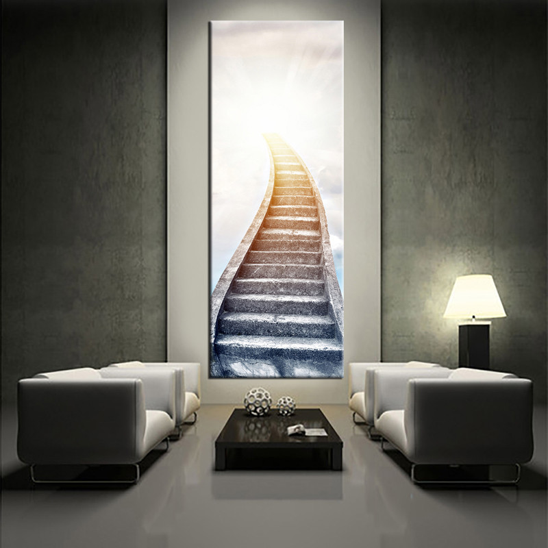1 Piece White Large Pictures Stair Modern Artwork