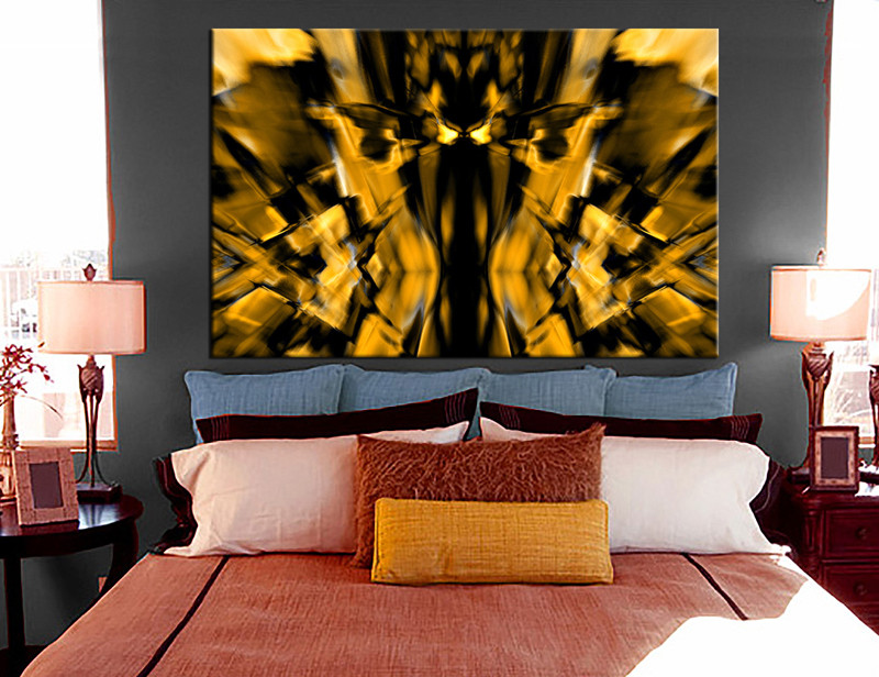Bedroom Canvas Prints 1 piece pictures yellow abstract canvas photography
