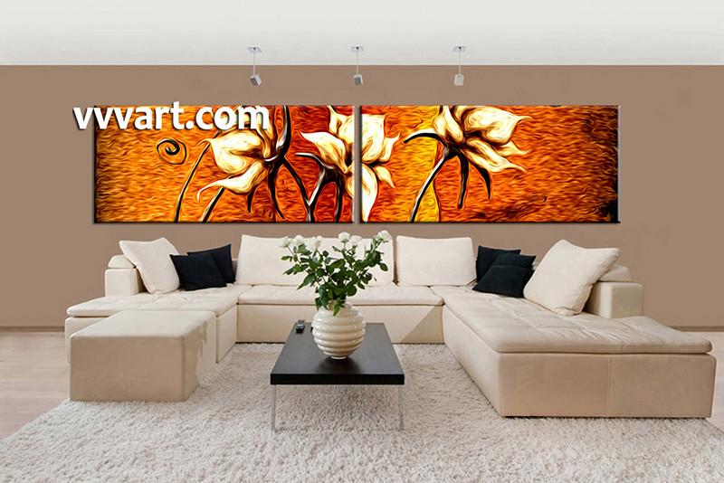 2 Piece Canvas Wall Art 2 piece orange canvas wall art flower oil paintings