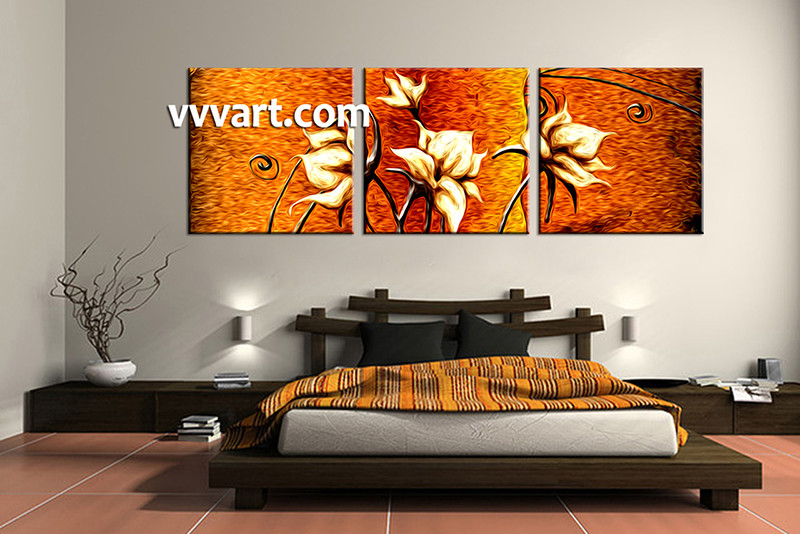 Superbe 3 Piece Canvas Wall Art, Bedroom Floral Artwork, Oil Paintings Floral  Pictures, Floral