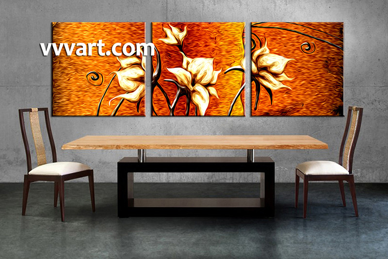 Canvas Wall Decor 3 piece floral orange canvas wall art oil paintings