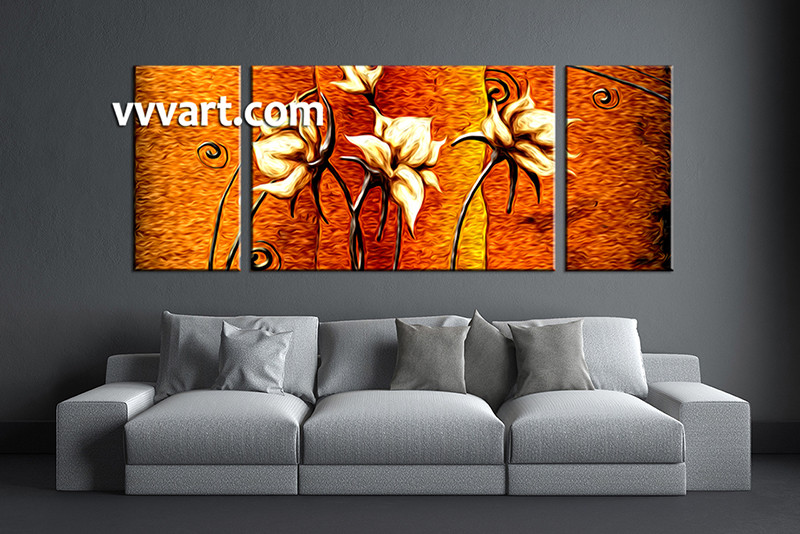 3 piece floral orange huge canvas oil paintings for Selling oil paintings online