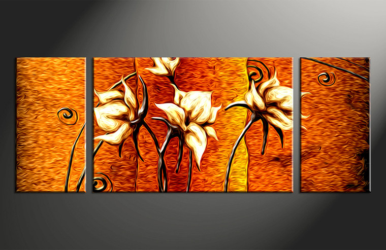 3 piece floral orange huge canvas oil paintings