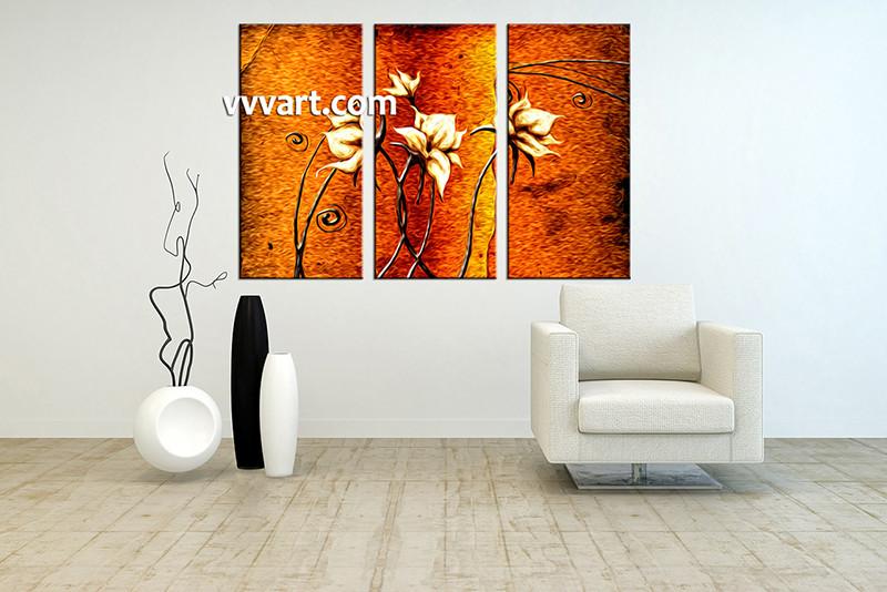 3 Piece Large Pictures, Living Room Canvas Photography, Orange Floral Multi  Panel Art, Part 43