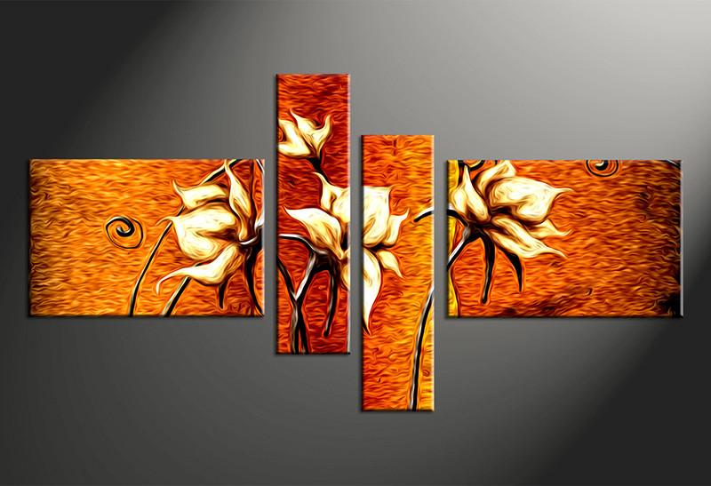 4 Piece Large Canvas Orange Floral Multi Panel Art Oil Paintings